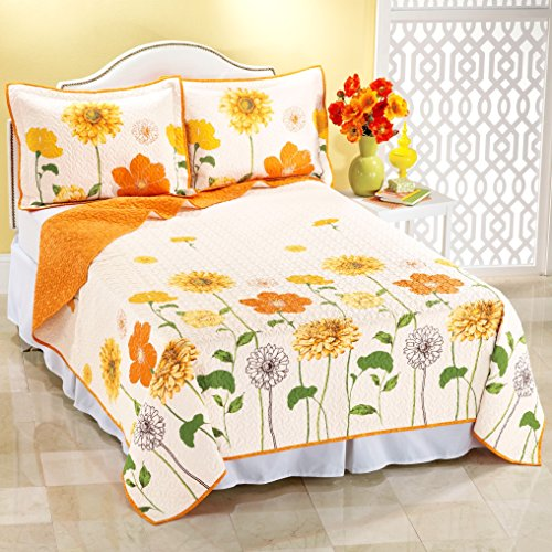 Bedskirt Bloom (Yellow and Orange POPPY PEONY Flower Bloom 100% COTTON REVERSIBLE Vermicelli Quilting QUILT & SHAM SET (3pc FULL/QUEEN SIZE))