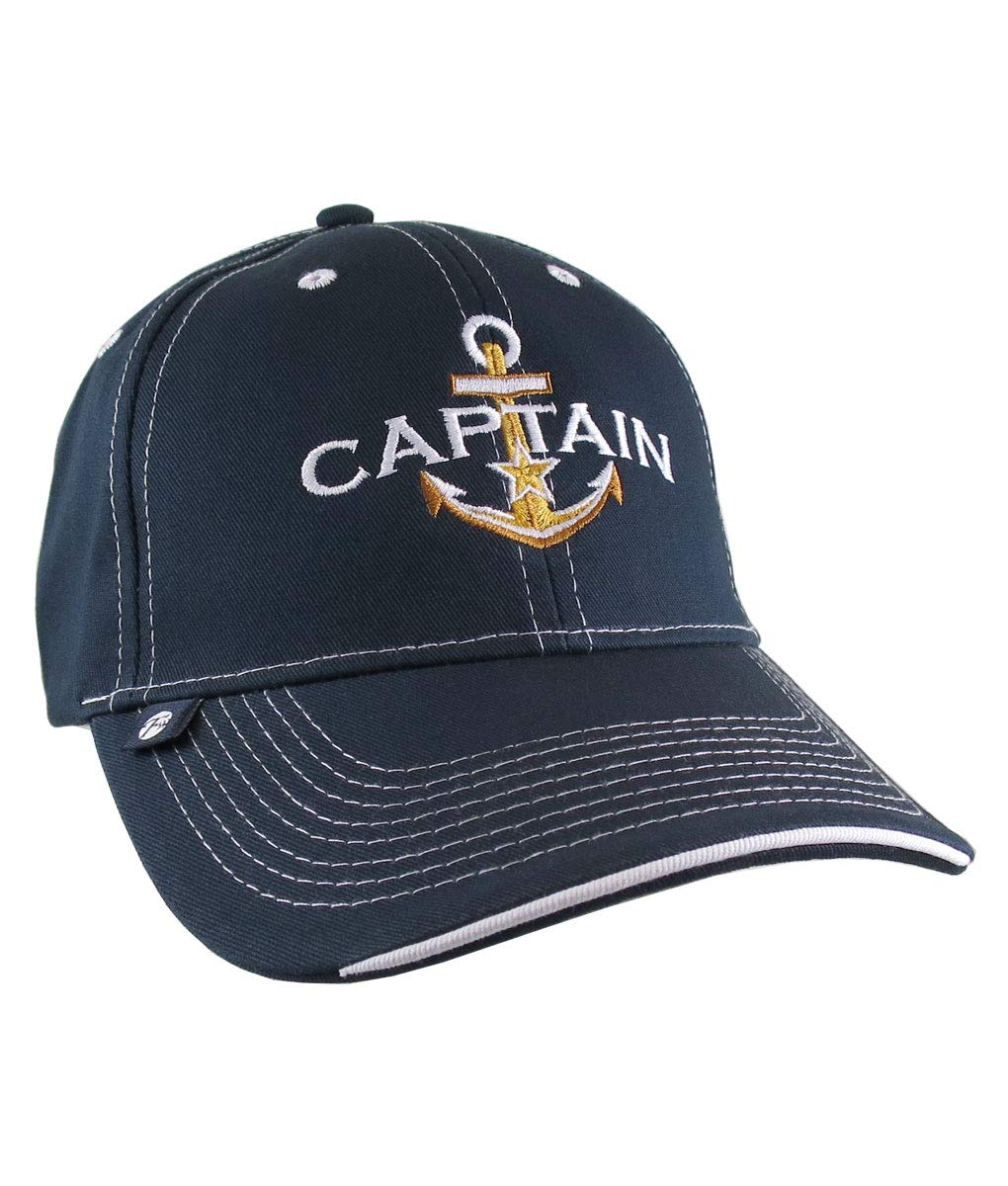 Nautical Star Golden Anchor Boat Captain Embroidery on an Adjustable Navy Blue Structured Baseball Cap with Options to Personalize The Hat