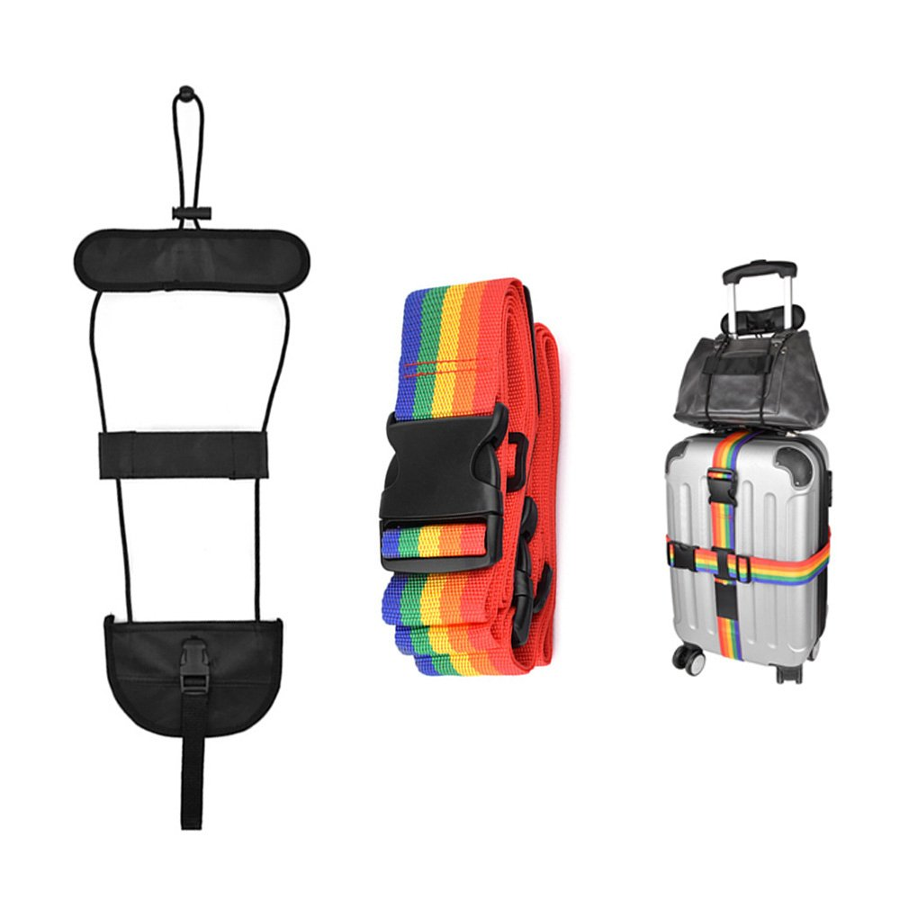 SlowTon Cross Luggage Straps Set, Colorful Adjustable Heavy Duty Long Suitcase Belts with Travel Tags Accessories and a Bag Bungee for Connect Bags Together (Black + Colorful)