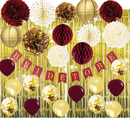 Qian's Party Bridal Shower Decorations Burgundy Gold/Fall Wedding Decor Burgundy Bachelorette Party Decorations Polka Dot Fans Bride to Be Banner Gold Foil Fringe Curtains Engagement Photo Backdrop -