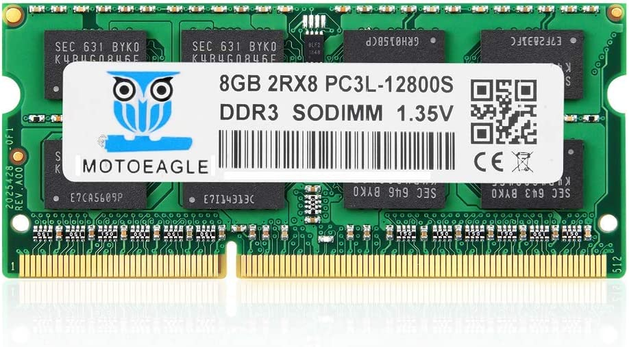 8GB DDR3L-1600 SODIMM DDR3 PC3-12800 RAM 1600 Mhz, Motoeagle 2RX8 1.35V Dual Rank Module Chips Upgrade for Laptop