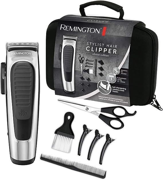 Remington Stylist Classic HC450 - Máquina de Cortar Pelo, Cuchillas de Acero Inoxidable, con Cable o Recargable, 14 Accesorios, Gris: Amazon.es: Salud y cuidado personal