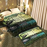 UNOSEKS-Home Blanket Floor mat Two-Piece Fantasy Landscape with Hammock and Small Lake Better Deeper Sleep Blanket 60''x78''/Mat 5'X8'