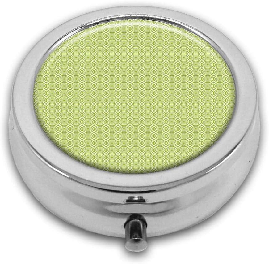 Pastillero con diseño de círculos concéntricos Vortex Whirlpool personalizado, redondo, plateado, con bolsillo, de 2,1 pulgadas, 3 compartimentos, pastillero, pastillero, bolsillo