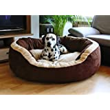 Fluffy's Luxurious Polyester Filled Soft Dual Colour Dog/Cat Bed, (Small, Brown)