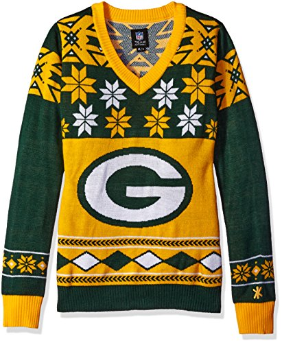 NFL Women's V-Neck Sweater, Green Bay Packers, Large by FOCO