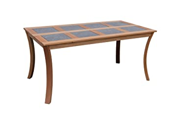 Maffei Table Luna: Table en Bois avec 8 Dalles en Ardoise. Bois ...