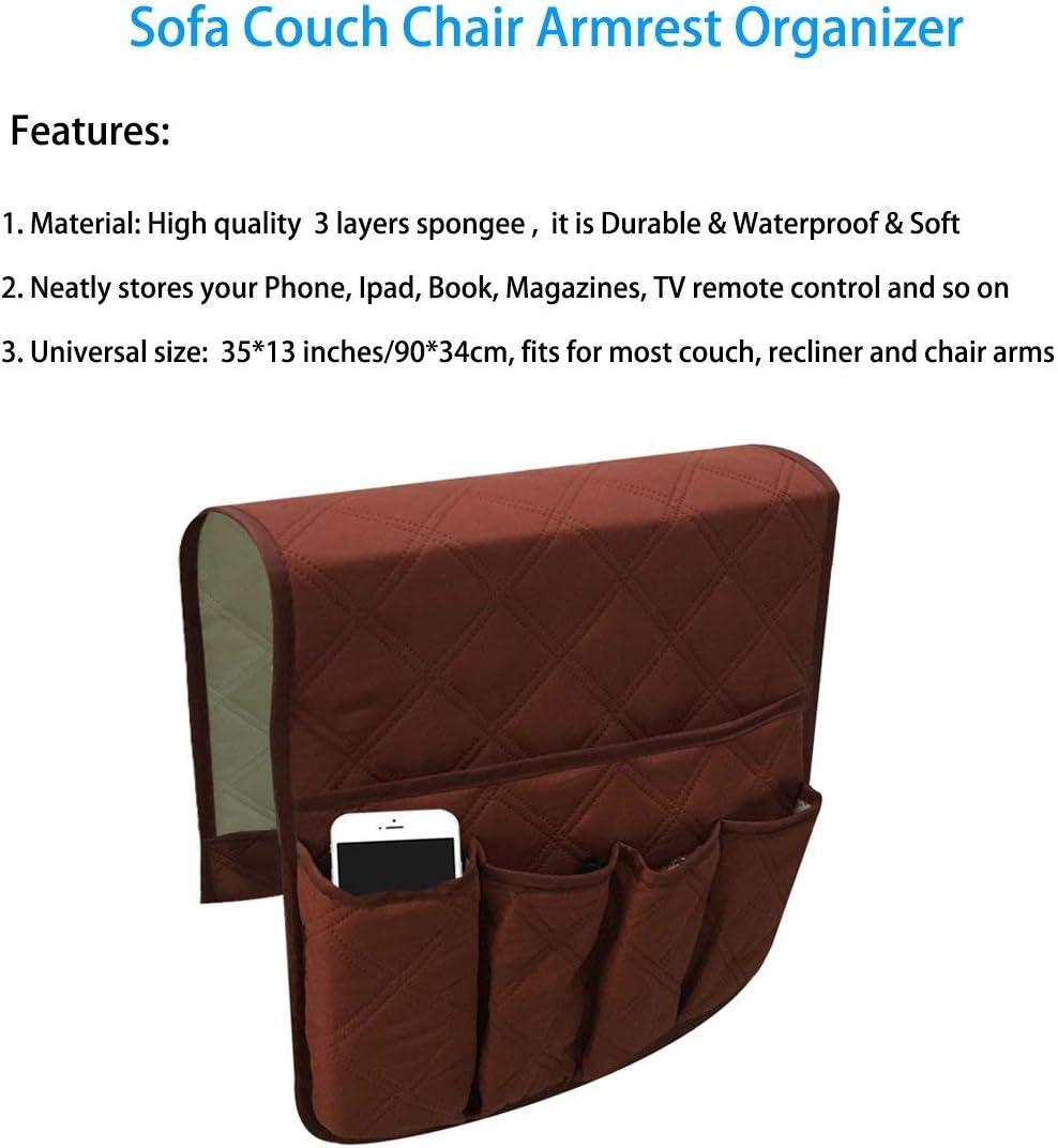Sofa Storage Bag for Phone Beige TV Remote Control Magazines Sofa Chair Armrest Organizer 5 Pockets Armchair Holder Organizer for Sofa Non-Slip