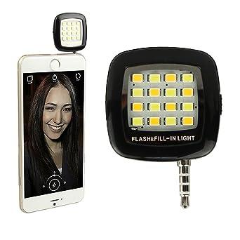 Portable 3.5 mm Jack 16 LED Smartphone Selfie de flash Fill de luz ...