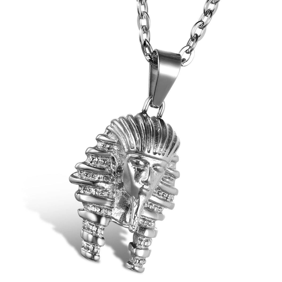 Oidea Herren Halskette mit Anhänger, Edelstahl Vintage Ägypten Ägyptisches Pharao Anhänger mit 55cm Kette Halsband, Silber Oidea1137