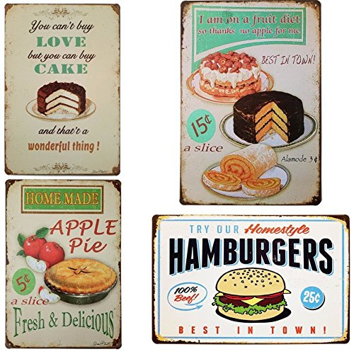 88 store Apple Pie/You Can't Buy Love But You Can Buy Cake/Fruit Diet/Hamburger Fast Food - Metal Plaque Vintage Tin Sign Wall Decor Bar Pub Bakery Cake Shop Poster Pack of 4