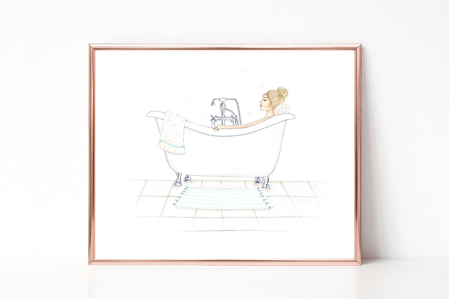 Spa Day with Customizable Hair Color Fashion Illustration Art Print