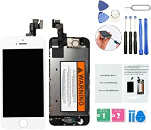 ORIWHIZ Top Grade LCD for iPhone 5S Replacement Screen with Home Button, Front Camera,Earpieces Speaker Pre Assembled Full Set Digitizer Assembly LCD Display and Repair Tool Kits and Manual White
