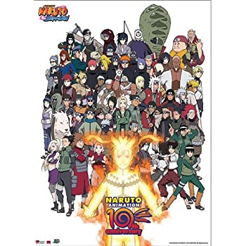 Great Eastern Entertainment Naruto Cast 10th Anniversary Wall Scroll, 33 by 44-Inch