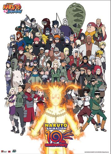 Great Eastern Entertainment 60047 Naruto Cast 10th Anniversary Wall Scroll, 33 by - Cast Wall Scroll