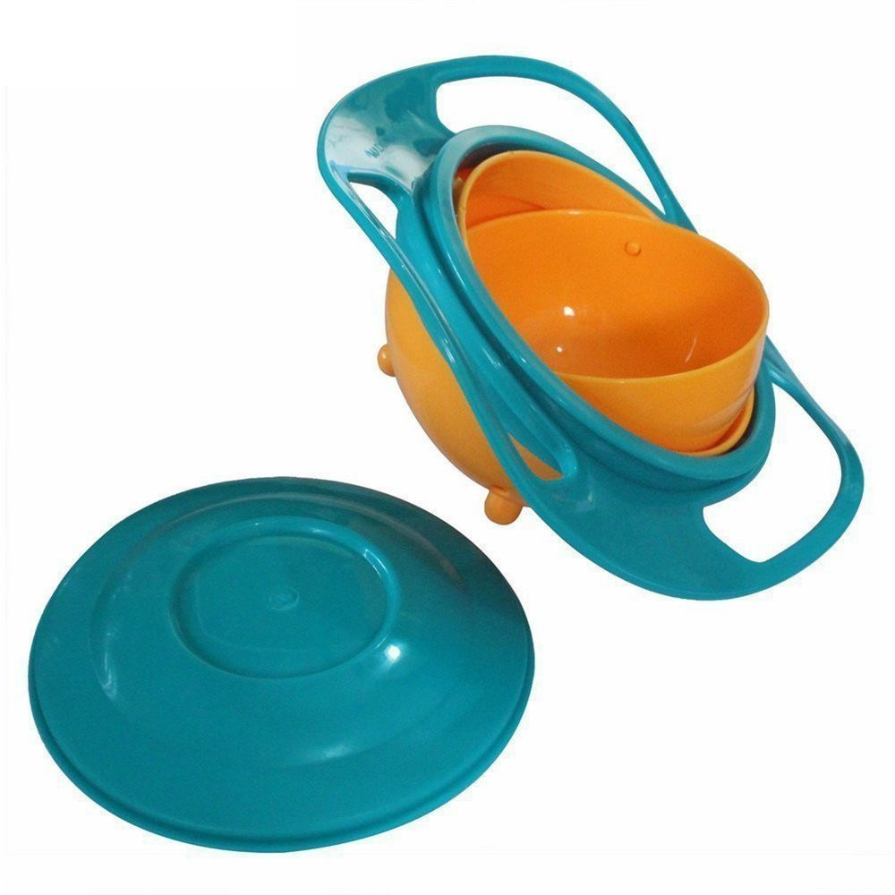 Berry President Magic Bowl 360 Degree Rotation Spill Resistant Gyro Bowl with Lid For Toddler Baby Kids Children, Set Of 3, Orange+Blue+Green by Berry President (Image #3)