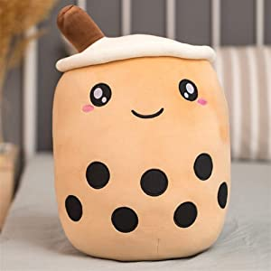 Zzlush Plush Doll Figurine Toy Pet Pillow Animal, 24cm Cartoon Cute Bubble Tea Cup Plush Pillow with Suction Tubes Lifelike Stuffed Back Cushion Funny Boba Food Toys for Girls