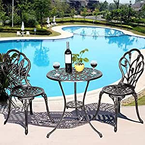 Yongtaifeng - Conjunto de Muebles de jardín para jardín, de Aluminio, Estilo Hierro Forjado, Envejecido, Bronce y Negro, 2 sillas y Mesa Exterior: Amazon.es: Jardín