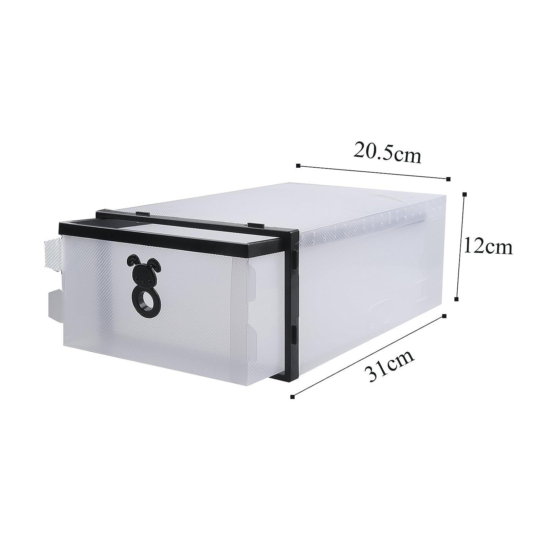 Vinteky/® 10x Cajas Almacenaje plegable de pl/ástico Caj/ón Organizador Transparente envase de la caja para zapatos Apilable Plegable Contenedor.
