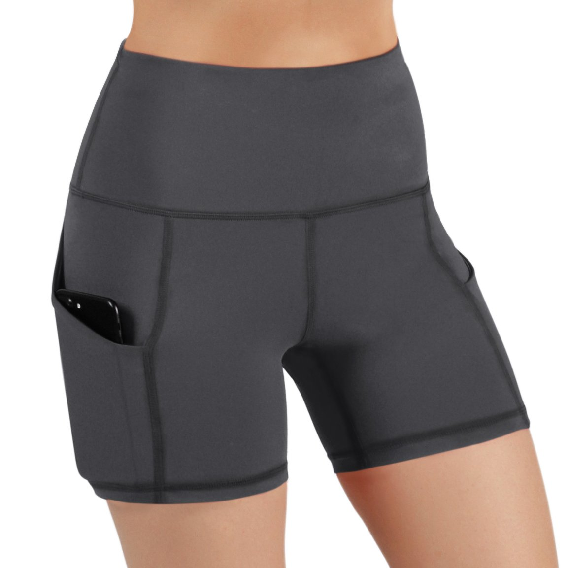 ODODOS High Waist Out Pocket Yoga Short Tummy Control Workout Running Athletic Non See-Through Yoga Shorts,Gray,X-Small