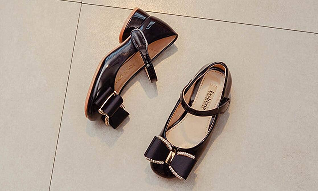 Black 33//1.5 M US Boys Girls Girls Cute Bow Mary Jane Shoes Little Girl Flat Shoes Toddler Shoes