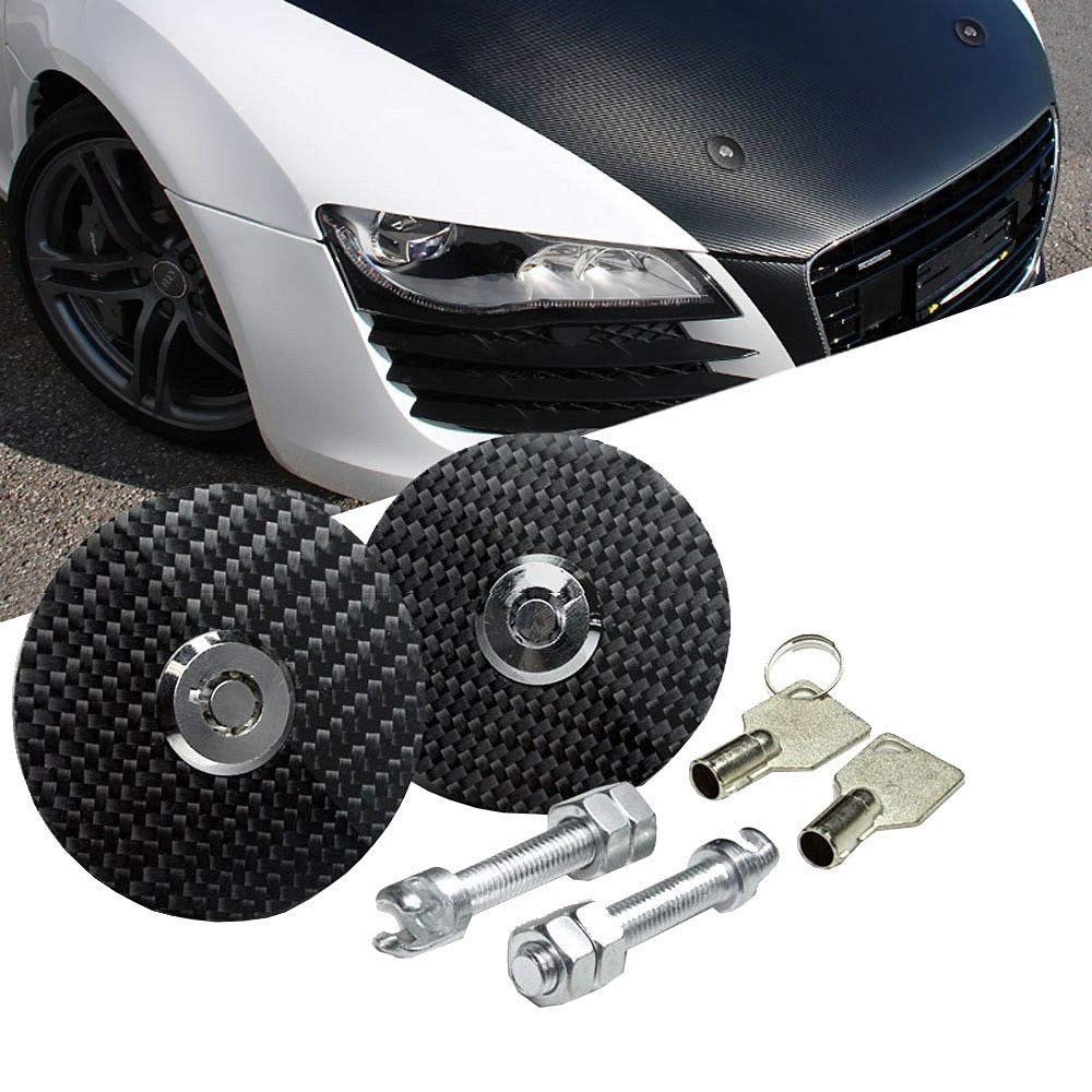 iJDMTOY JDM Racing Style 2.5' Black Real Carbon Fiber Flush Fit Hood Latch Pins w/Lock-able Keys, Universal Fit for Any Car iJDMTOY Auto Accessories Light weight genuine carbon latch pin