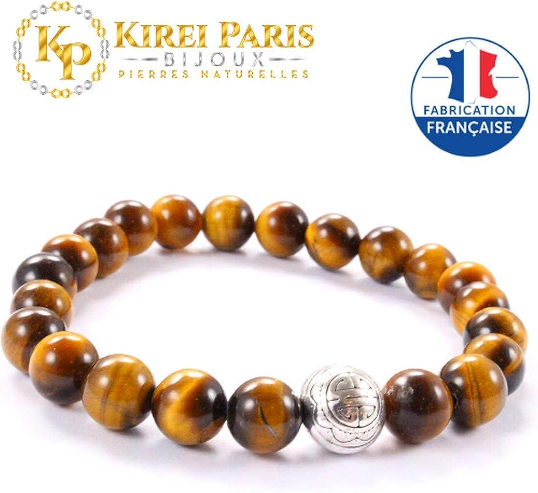 KIREI PARIS BIJOUX ✔️ Brazalete Shou (Larga Vida) con Dije en Sterling Plateado y Piedras Naturales 8mm para darnos Fuerza Protección Felicidad Idea de Regalo.