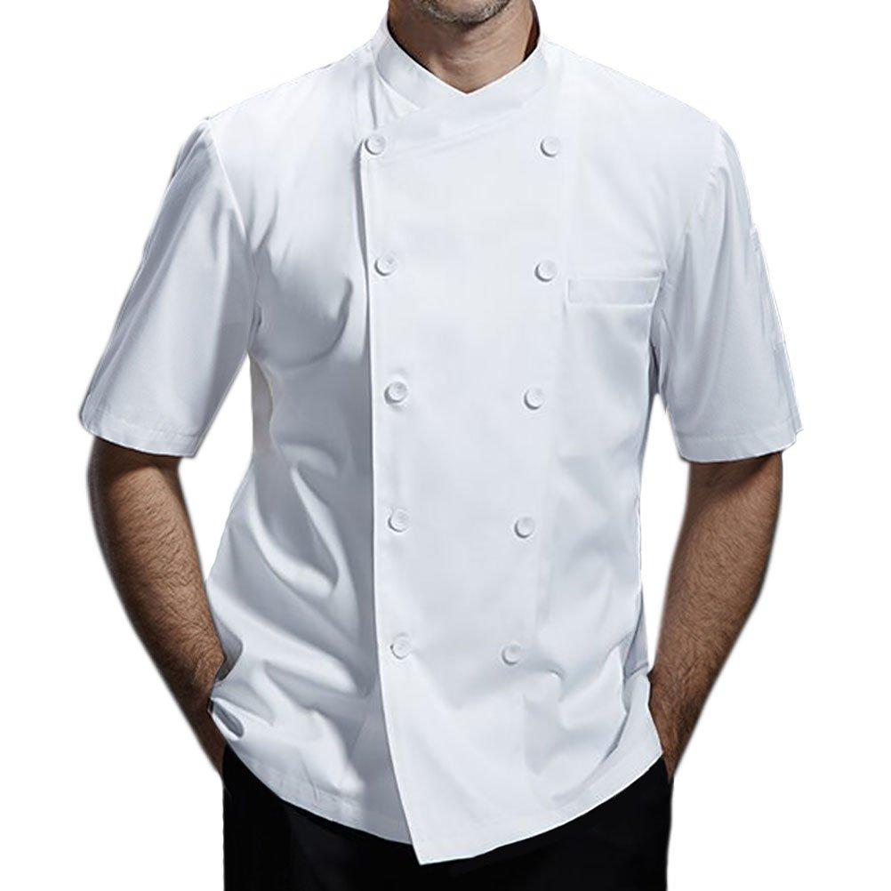Nanxson Giacca da Cuoco Manica Corta da Uomo in Cotone Traspirante da Cucina Uniforme da Lavoro CFM0029