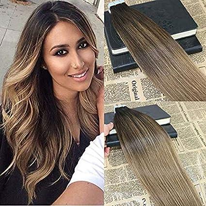 20 extensiones de cabello 50 G brasileño Omber invisible ...