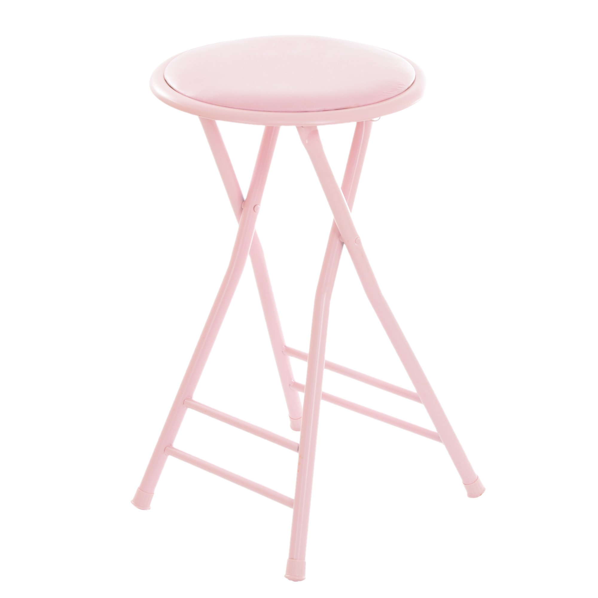Trademark Home Folding Stool - Heavy Duty 24-Inch Collapsible Padded Round Stool with 300 Pound Limit for Dorm, Rec or Gameroom (Pink) by Trademark Home Collection