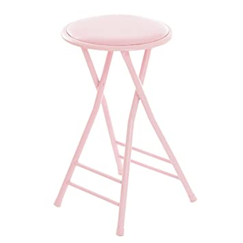 Swell Trademark Home Folding Stool Heavy Duty 24 Inch Collapsible Padded Round Stool With 300 Pound Limit For Dorm Rec Or Gameroom Pink Creativecarmelina Interior Chair Design Creativecarmelinacom