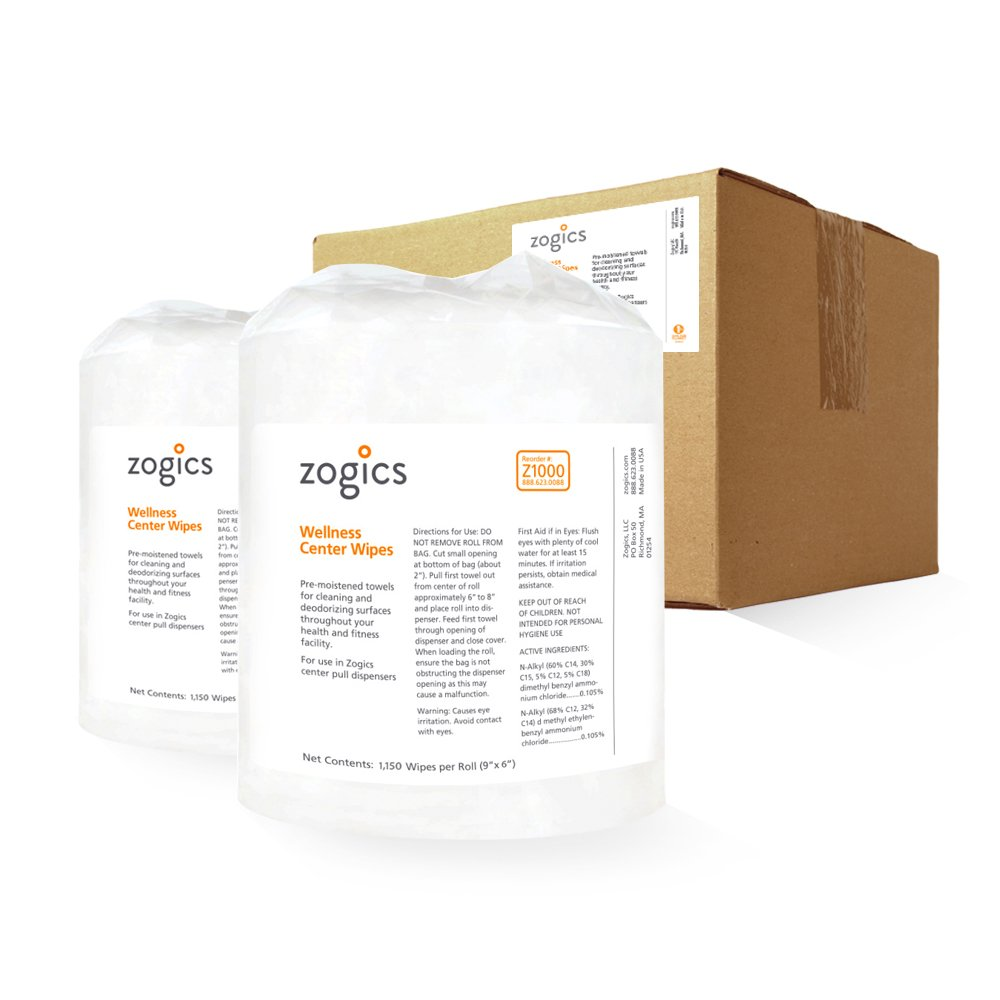 Zogics Wellness Center Heavy Duty Gym Equipment and Surface Cleaning Wipes (2 Rolls, 2,300 Wipes)