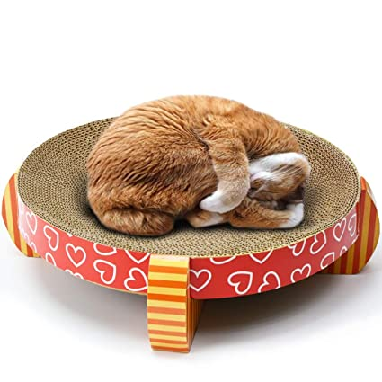 FELICIPP Cat Scratcher Refill Lounge Papel Corrugado Cat Scratch Board Cama para Gato Red Dot (