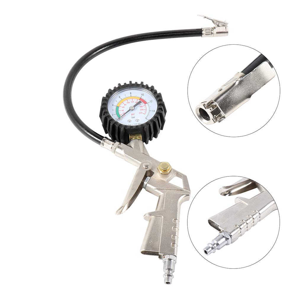 OCPTY Premium Tire Pressure Gauge 220PSI Resolution Tire Gauge Air Chuck Fits for Car Truck Bicycle Motorcycle