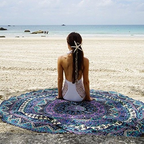 RawyalCrafts- Indian Elephant Mandala Round Roundie Beach Throw Tapestry Hippy Boho Gypsy Cotton Tablecloth Beach Towel