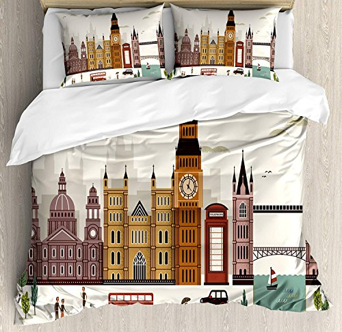 London Duvet Cover Set California King Size, Attractive Travel Scenery Famous City England Big Ben Telephone Booth Westminster - Comforter Cover Bedspread Pillow Cases with Zippered for Kids Adult (List Of All Kings And Queens Of England)