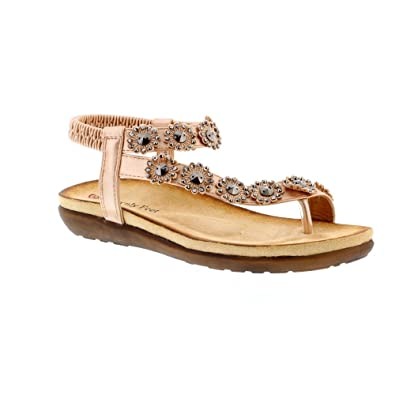 7feee301 Heavenly Feet Lulu Womens Ladies Strappy Sandals Rose Gold - Rose Gold - UK  Size 7