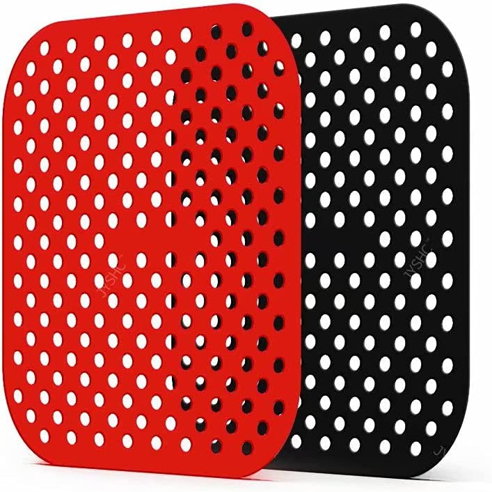 JYSHC Reusable Air Fryer Liners – 8.5Inch Square Shape, Non-Stick Silicone Air Fryer Basket Mats.Air Fryer Accessories for Kitchen Air Fryers/Oven/Pressure Cooker.(2-Pack)