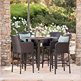 Landan Outdoor 5 Piece Multibrown Wicker 32.5 Inch Square Bar Table Set