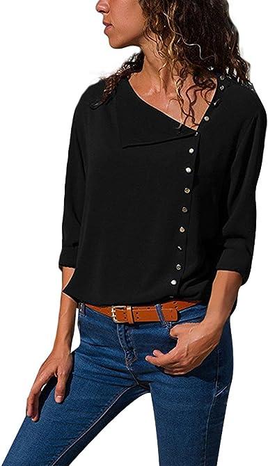 Tujryike Botón de Cuello Oblicuo Camisa de Vestir de Siete Puntas para Mujer Camisas par: Amazon.es: Ropa y accesorios