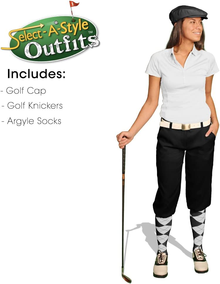 ゴルフKnickersレディースselect-a-style Outfit – ブラック 黒/白い Sock
