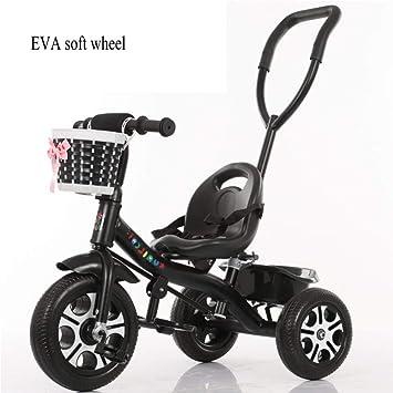 GIFT Triciclo para Niños Bicicleta 3 Ruedas Bicicleta Carrito De Bebé Cochecito, Varilla De Empuje Desmontable, Rueda Suave EVA, 2-6 Años Regalo De Juguete ...