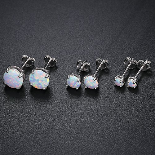 925 Sterling Silver 3/5/7mm Round Opal Stud Earrings Plated With 18K White Gold Pack of 3 by GEMSME (Image #2)