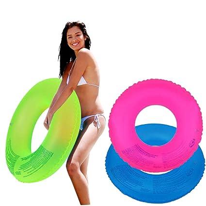 Tubo de natación con anillo transparente inflable para 3 colores ...