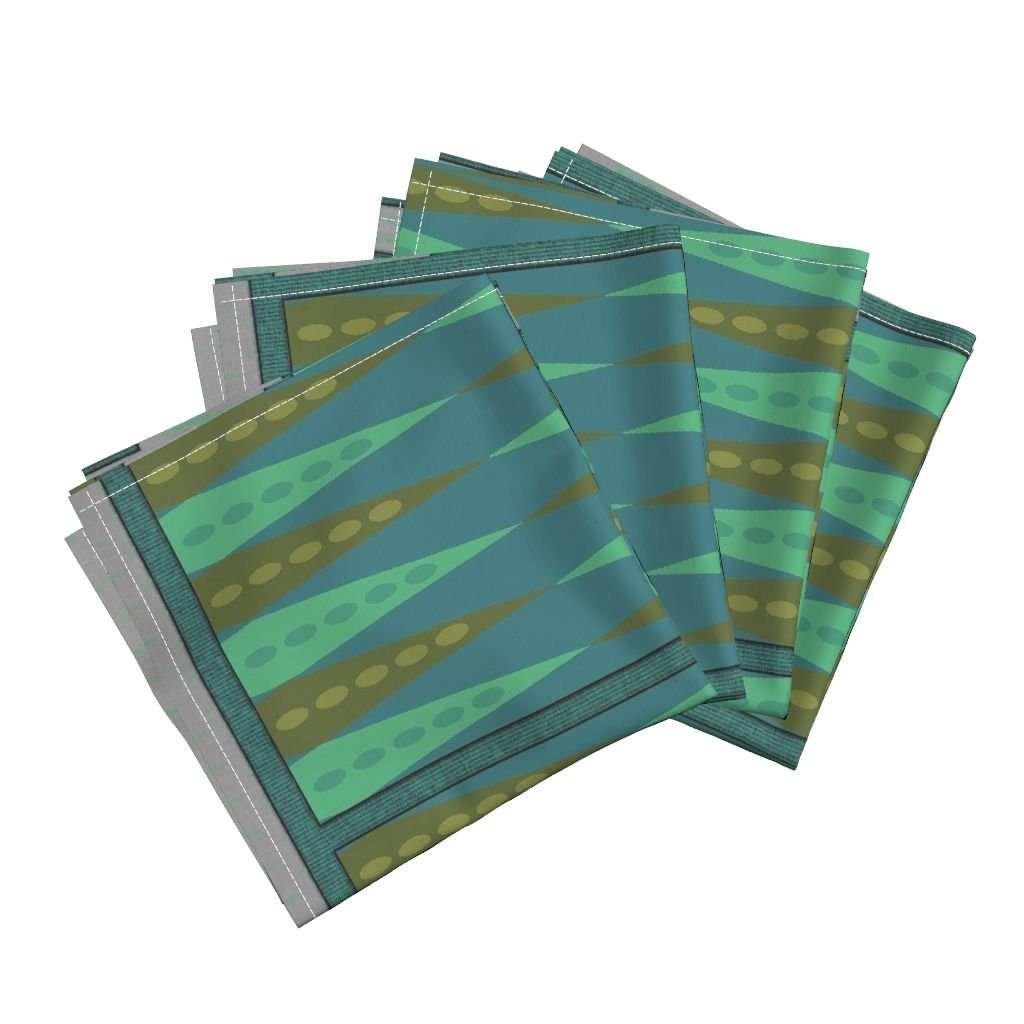 Roostery Backgammon Organic Sateen Dinner Napkins Backgammon Game Turquoise by Wren Leyland Set of 4 Cotton Dinner Napkins Made