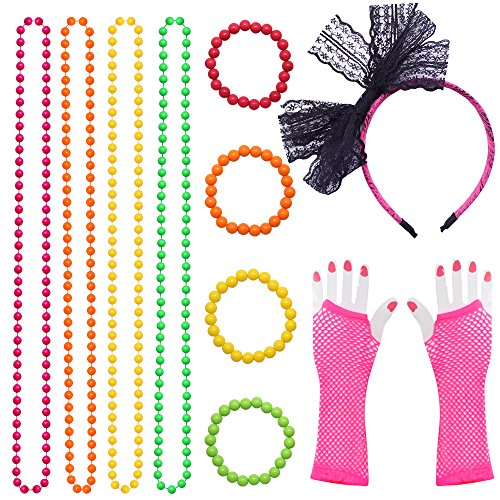 Fishnet Necklace - Dreamtop 80s Neon Necklaces and Bracelets Fishnet Gloves Bow Headband for 1980s Theme Party Supplies,Set of 11