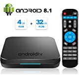 Android TV Box, 2019 Newest Android Box 8.1 with 4GB RAM 32GB ROM Amlogic S905X2 Quad core Bluetooth 4.1 4K Full HD 3D Dual WiFi 2.4G/5G Web TV Box