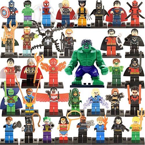 (Crazytoy Super Heroes Minifigures Gathering with Weapons Set Action Mini Figures Toy Kid's Gift Building Blocks Gifts 35 pcs)
