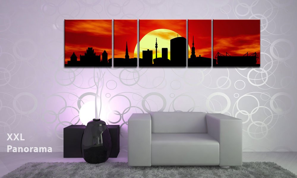 TOP Image On Canvas CITY PaNORAMA Style DORTMUND SUN Red 5 Piece DIGITAL Arts AP500097 Pictures Ready Stretched A Artwork Keilrahmen Rahmen