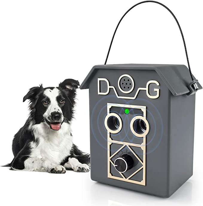 2019 New Bark Box Outdoor Dog Repellent Device with Adjustable Ultrasonic Level Control Safe for Small Medium Large Dogs Bark Control Device Zomma Anti Barking Device Sonic Bark Deterrents
